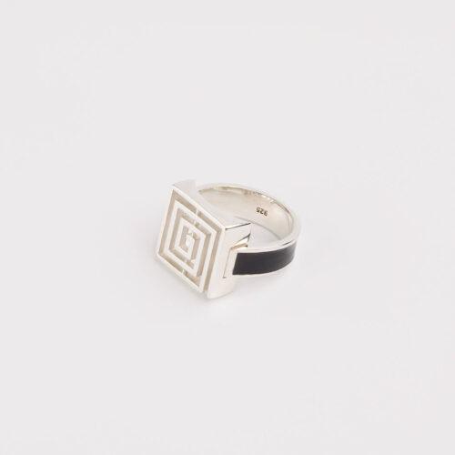 Lavirint Prsten Veliki Srebrno-Crni